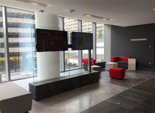 Ecran affichage dynamique sur support de verre
